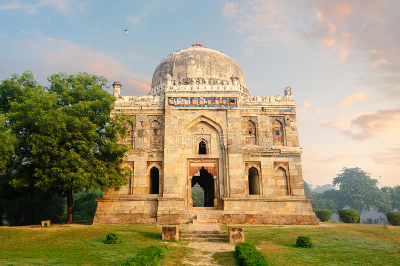 Bada Gumbad Complex at early morning in Lodi Garden Monuments. Sheesh Gumbad at early morning in Lodi Garden Monuments, Delhi, India stock image
