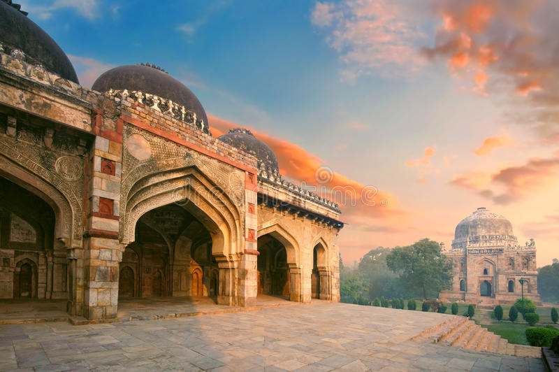 Bada Gumbad and Sheesh Gumbad Complex at early morning in Lodi Garden. Monuments, Delhi, India stock photo