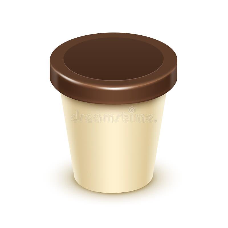 Bada hinken för vaniljchokladefterrätten, yoghurt stock illustrationer