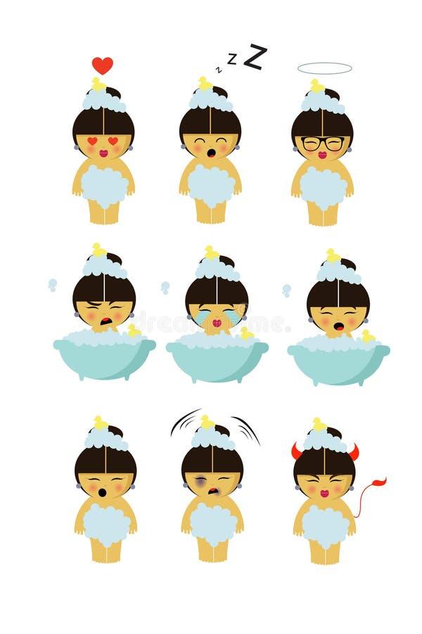 Bada lilla flickan med nio olika sinnesrörelser vektor illustrationer