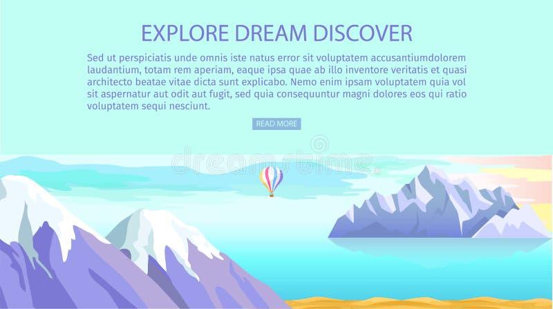 Bada sen Odkrywa góry morze i krajobraz ilustracji