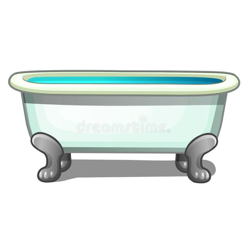 Bada stålben som fylls med vatten som isoleras på en vit bakgrund Illustration för vektortecknad filmnärbild stock illustrationer
