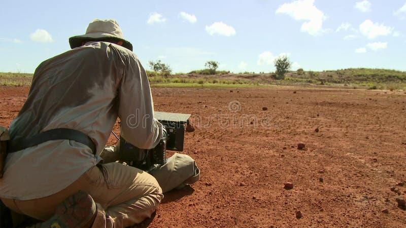 Badacza pobyt wśród szarańcz mrowi się w Madagascar fotografia stock