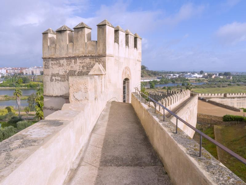 Badajoz arabic fortress. And monuments, Extremadura, Spain. The Alcazaba that today dominates the city of Badajoz, is the result of the successive actions that stock photos