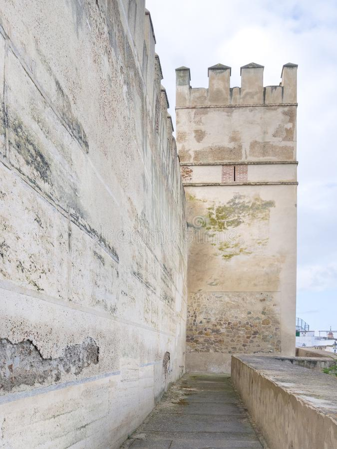 Badajoz arabic fortress. And monuments, Extremadura, Spain. The Alcazaba that today dominates the city of Badajoz, is the result of the successive actions that stock photo