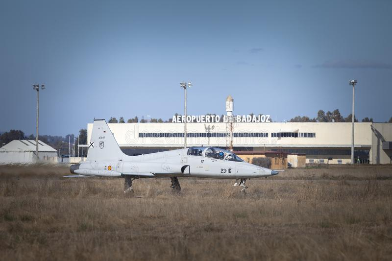 Badajoz airport and F5 Northrop fighter royalty free stock photos