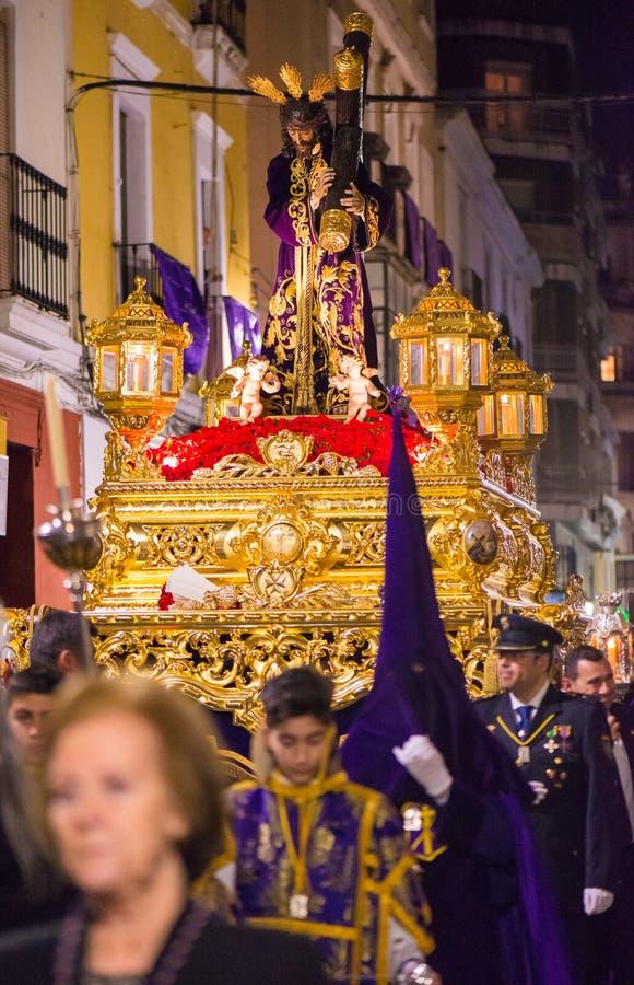 Badajoz Hiszpania, Marzec, - 22, 2016: Wielkanocny tydzień Semana Santa, Naz obrazy stock