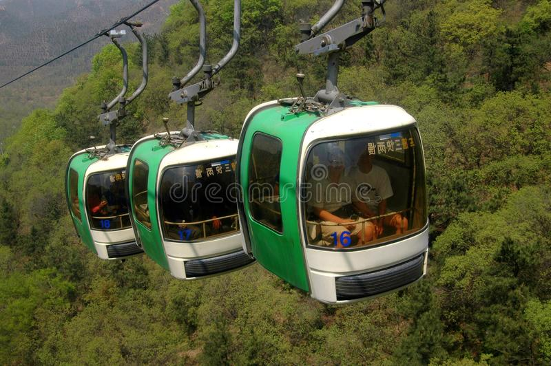 Badaling, China: Teleféricos de la Gran Muralla foto de archivo