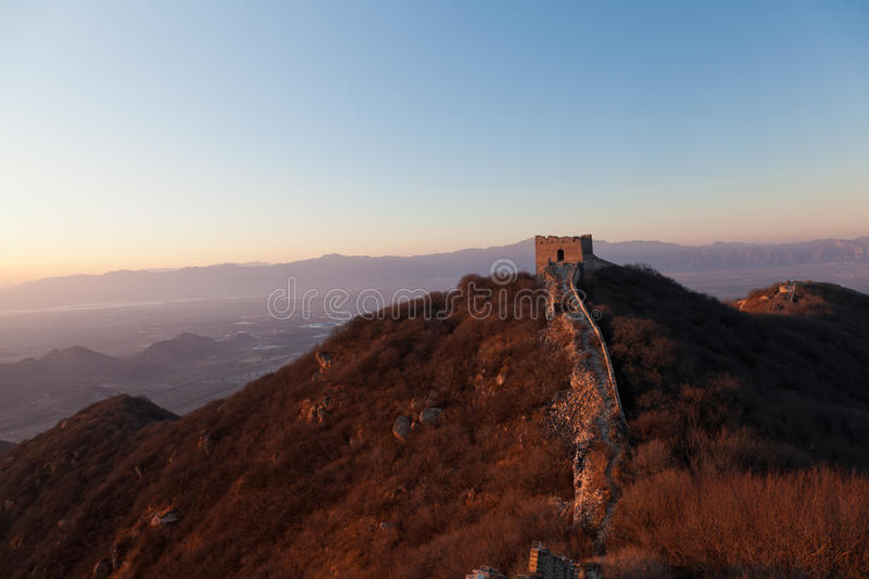 Badaling Great Wall in sunset stock image