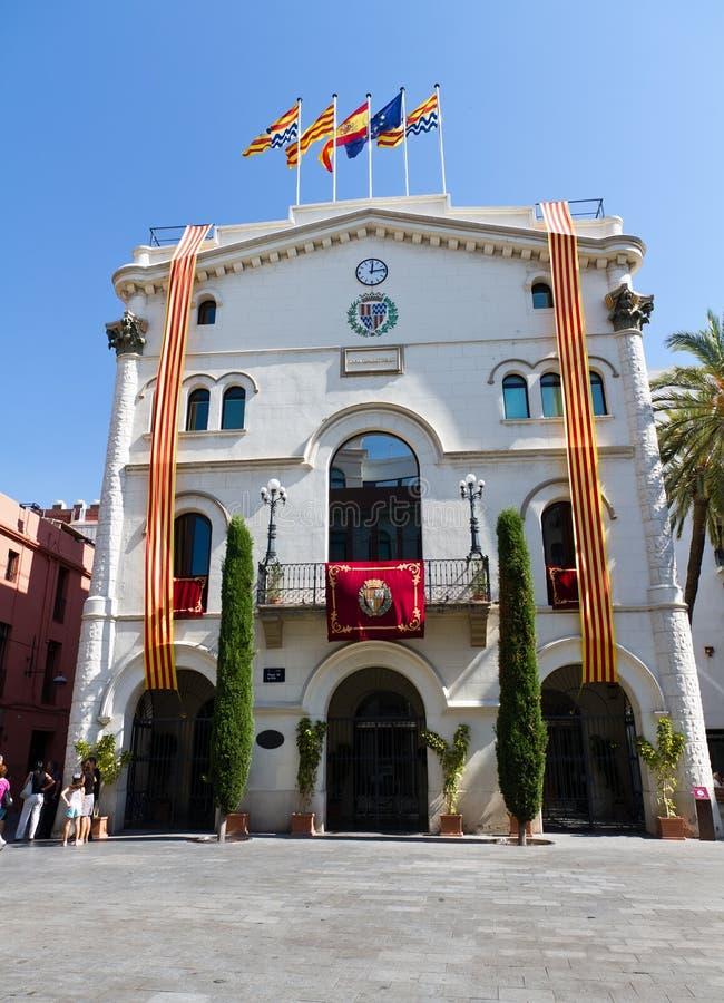 Badalona bandera en 11-S. Badalona, Spain - SEPTEMBER 11: National Day Badalona starts with the Spanish flag raised at City Hall, on September 11, 2011 in royalty free stock image