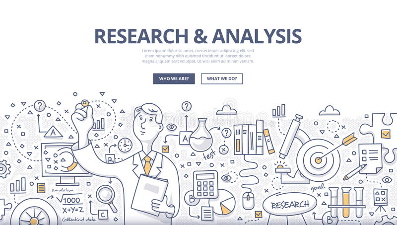 Badania & analizy Doodle pojęcie ilustracji