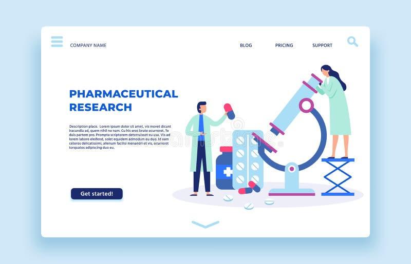 badania farmaceutycznego Naukowa lab, farmaceutyka naukowiec i laboratorium badacze ląduje strona wektor, ilustracji