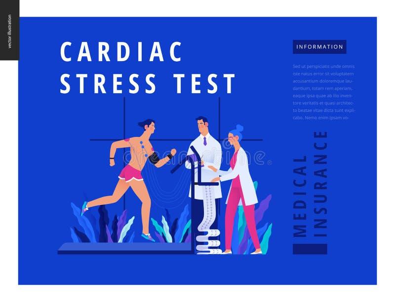 Badania medyczne Błękitny szablon - sercowy stresu test royalty ilustracja