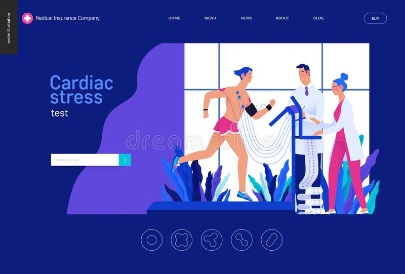 Badania medyczne Błękitny szablon - sercowy stresu test ilustracji