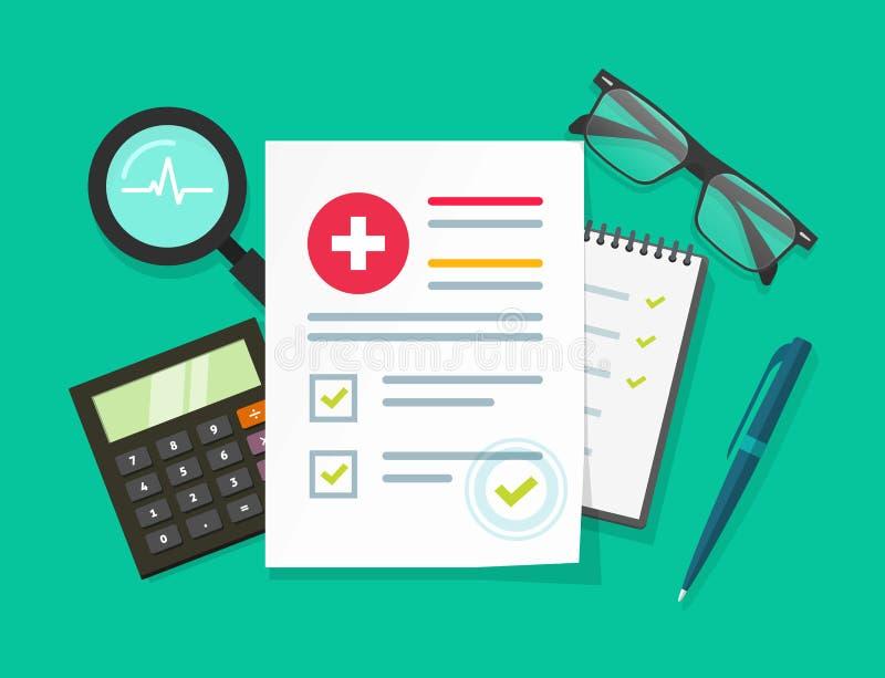 Badania medyczne raportowa wektorowa ilustracja, płascy kreskówek zdrowie lub książeczka zdrowia papierowy dokument z cierpliwymi ilustracja wektor