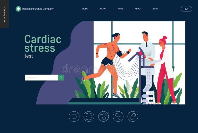 Badania medyczne szablon - sercowy stresu test ilustracja wektor