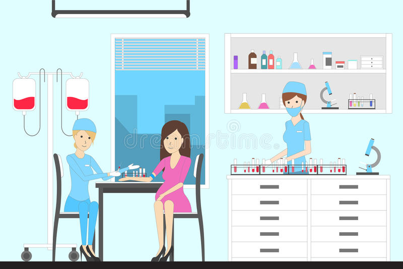 Badanie krwi w szpitalu ilustracja wektor