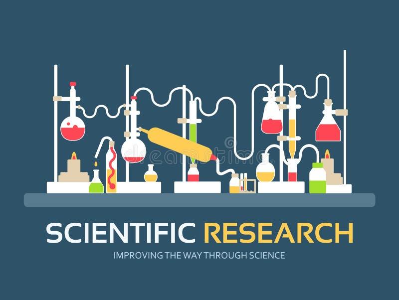 Badanie naukowe w płaskim projekta tła pojęciu laboranckiego wyposażenia dostawy z chemii narzędziami Ikony dla twój produktu ilustracji