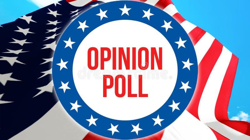 Badanie opinii publicznej wybory na usa tle, 3D rendering Zlani stany Ameryka zaznaczają falowanie w wiatrze Głosować, wolność ilustracji