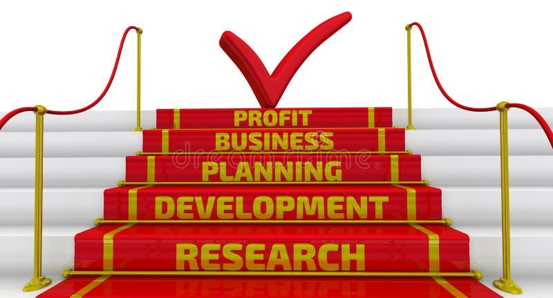 Badanie, rozwój, planowanie, biznes, zysk Inskrypcja na czerwonej czek ocenie na wierzchołku schody i krokach ilustracja wektor
