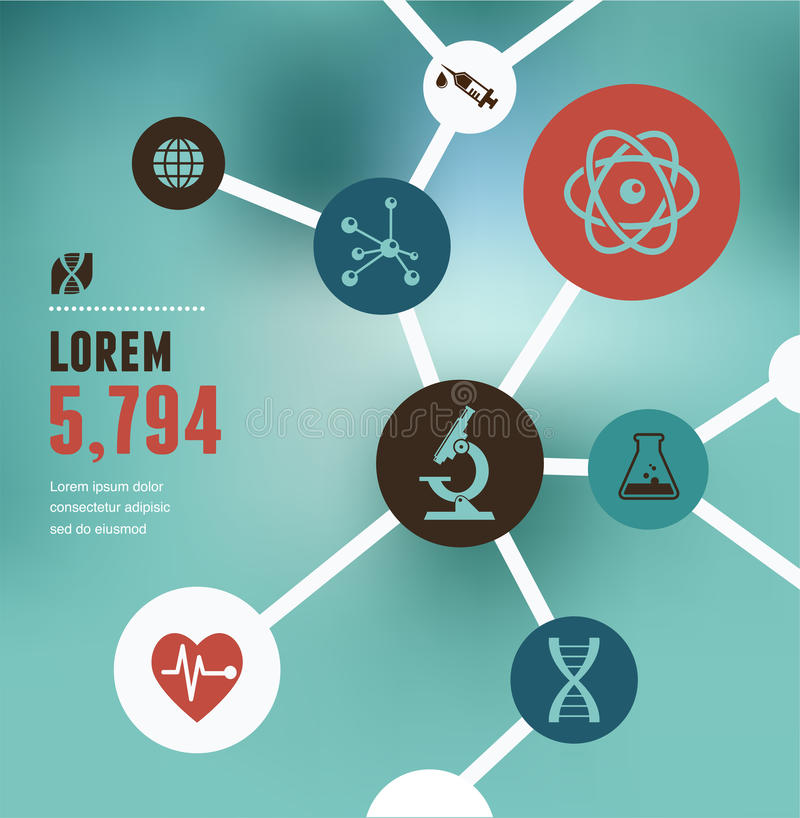 Badanie, Życiorys technologia i nauka infographic, ilustracja wektor