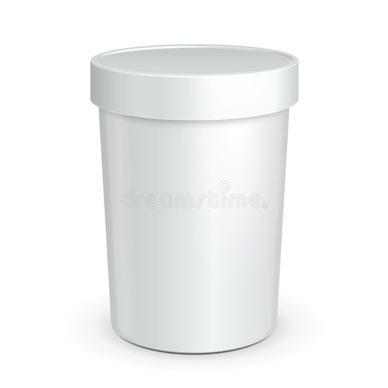 Badar den övre hinken för vitåtlöje den plast- behållaren för mat för efterrätt, yoghurt, glass, gräddfil eller mellanmål Ordna t royaltyfri illustrationer