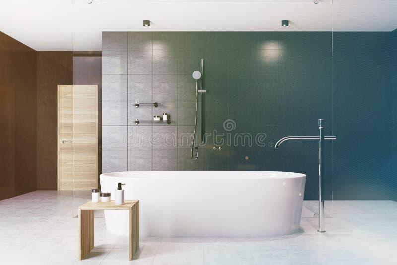 Badar inre vit för det svarta badrummet tonat stock illustrationer