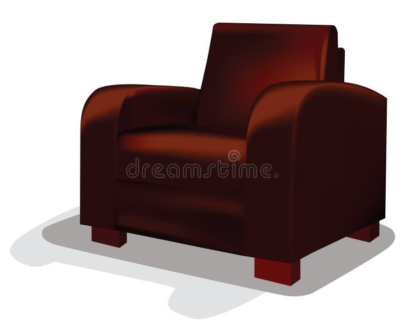 Badar rött läder för vektorn stol vektor illustrationer