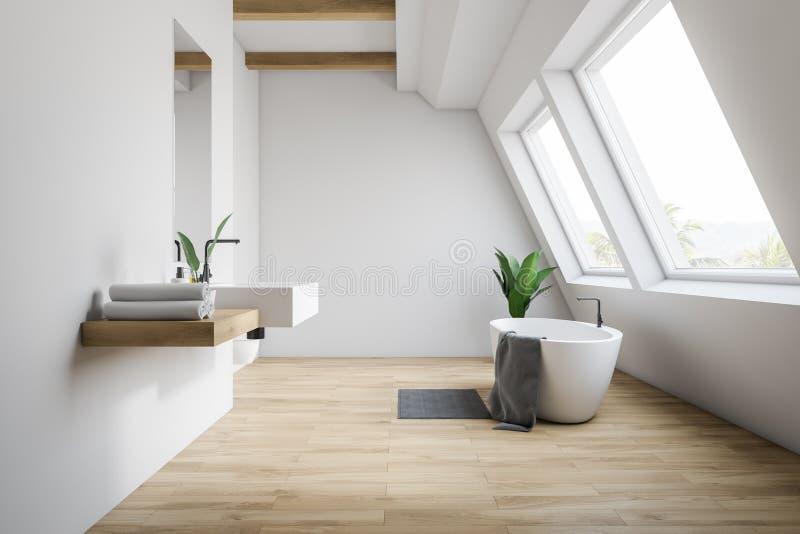 Badar sjunker den vita badruminre för loften, och royaltyfri illustrationer