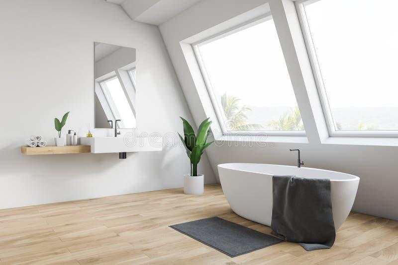 Badar sjunker det vita badrumhörnet för loften, och vektor illustrationer