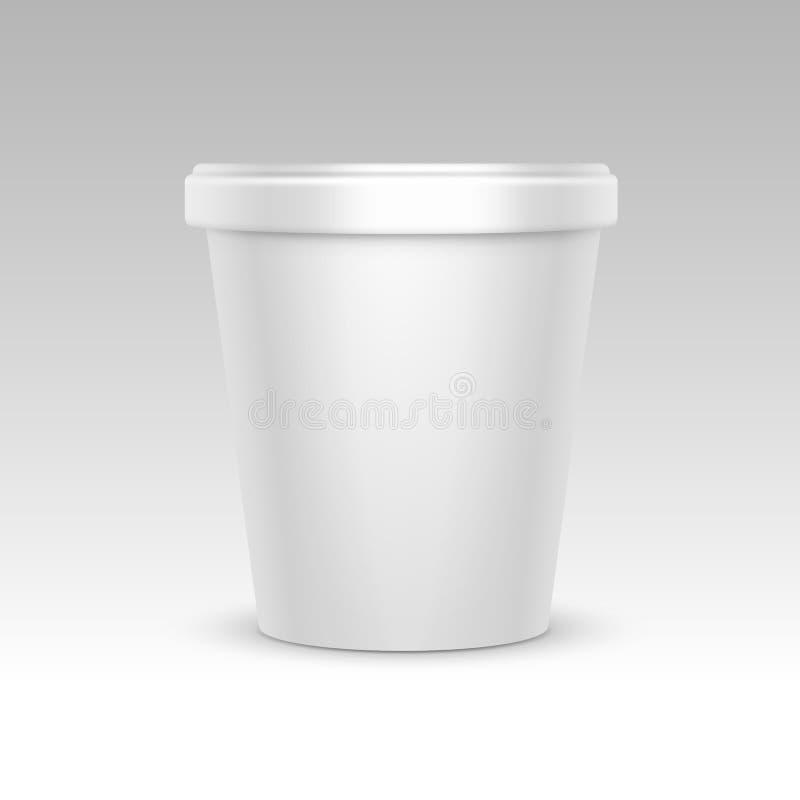 Badar tom matplast- för vit hinkbehållaren för efterrätten, yoghurten, glass för packedesign på vit bakgrund stock illustrationer