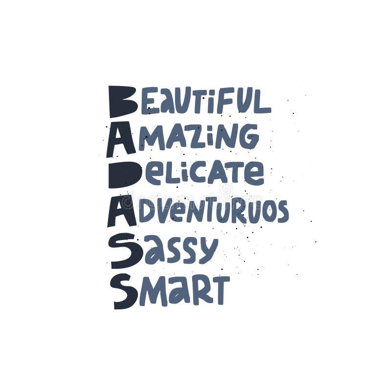 Badass acronym girl power t-shirt print royalty free illustration