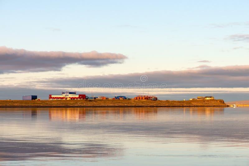 Badawcza stacja «Samoylov wyspa «, baza dla niemiec permafrost badania w Syberia fotografia royalty free