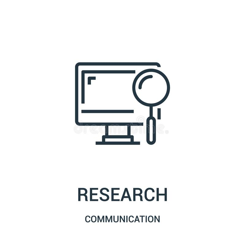 badawczy ikona wektor od komunikacyjnej kolekcji Cienka linii badania konturu ikony wektoru ilustracja Liniowy symbol dla używa d ilustracja wektor