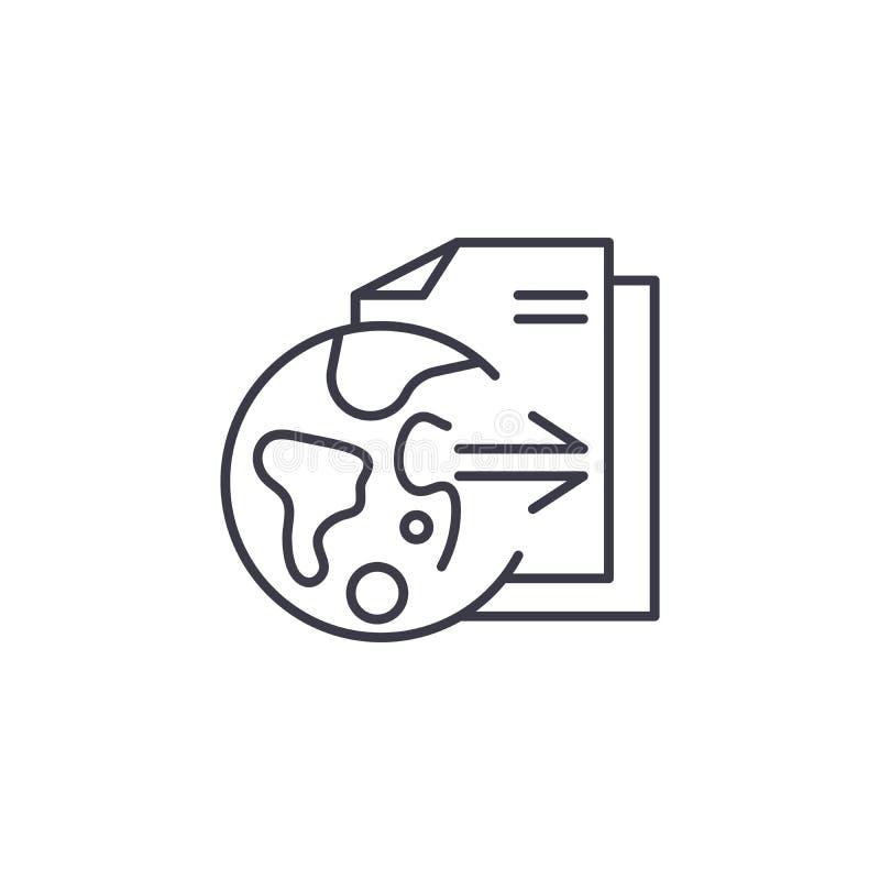 Badawczych wyników ikony liniowy pojęcie Badawczych wyników wektoru kreskowy znak, symbol, ilustracja ilustracja wektor