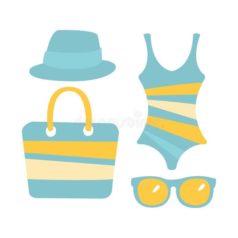Baddräkt exponeringsglas, påse, sandal, kvinnastrandtillbehör i ljus - blått färgar Färgrik tecknad filmillustration vektor illustrationer