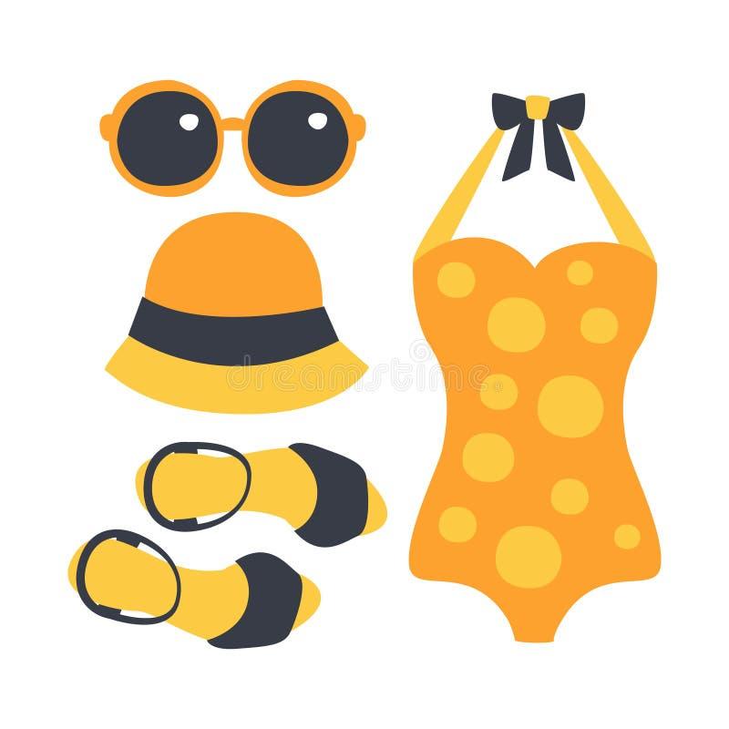 Baddräkt exponeringsglas, påse, sandal, kvinnastrandtillbehör i orange färger Färgrik tecknad filmillustration stock illustrationer