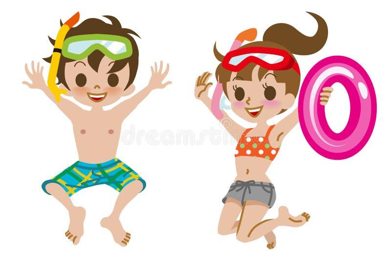 Badebekleidungs-Kinderspringen lokalisiert vektor abbildung