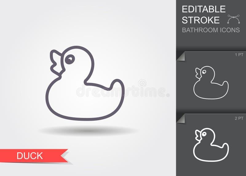Badeend Lijnpictogram met editable slag met schaduw vector illustratie
