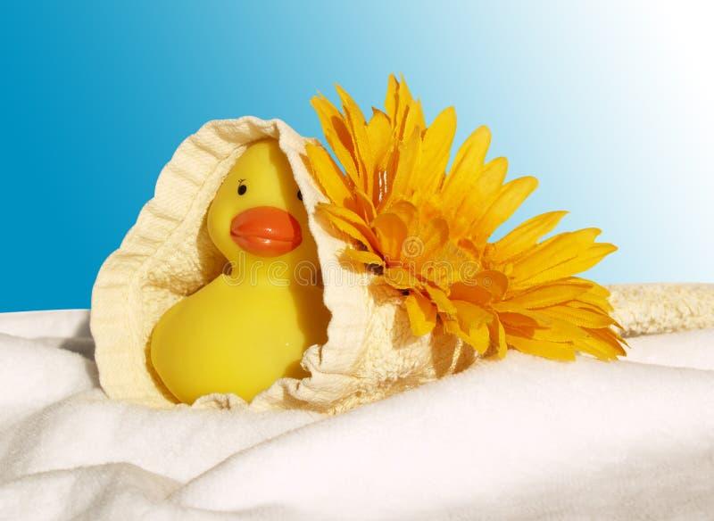 Badeendje resolvió el bloem en washand imagen de archivo libre de regalías