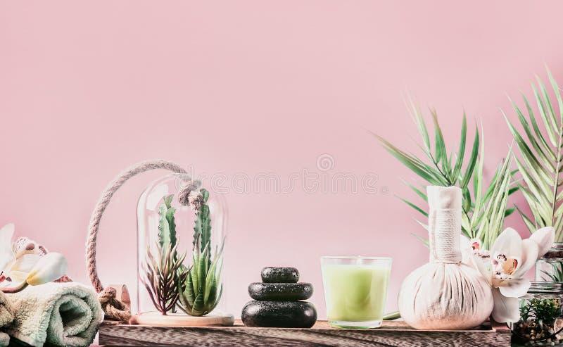 Badekurort, der Hintergrund mit Steak von Massagesteinen, von saftigen Anlagen und von Wellnessausrüstung auf Tabelle an der rosa stockfoto