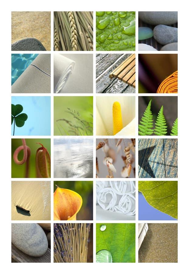 Badekurort nah oben auf einer Collage lizenzfreies stockbild