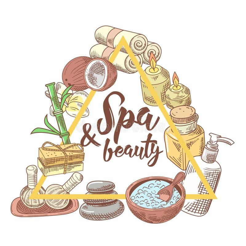 Badekurort-Salon Wellness-Schönheits-Hand gezeichnetes Gekritzel Aromatherapie-Gesundheits-Element-Satz Hautbehandlung stock abbildung