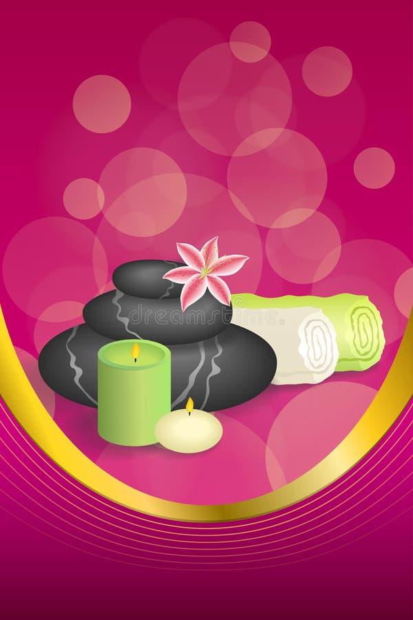 Badekurort-Salontherapie des Hintergrundes entsteint abstrakte rosa beige Tuchlilienrahmens der Kerze Bandillustration des grünen vektor abbildung