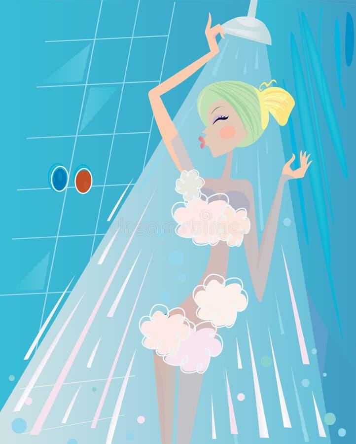 Badekurort und Schönheit: Frau unterhalb des Duschebades lizenzfreie abbildung