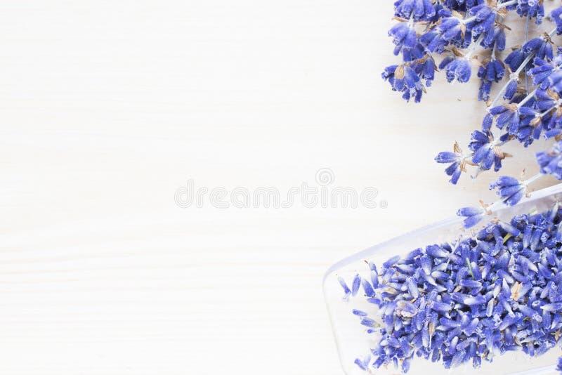 Badekurort und Wellnesseinstellung mit Lavendelblumen, Seesalz, Öl in einer Flasche, Aromakerze auf hölzernem weißem Hintergrund lizenzfreies stockbild