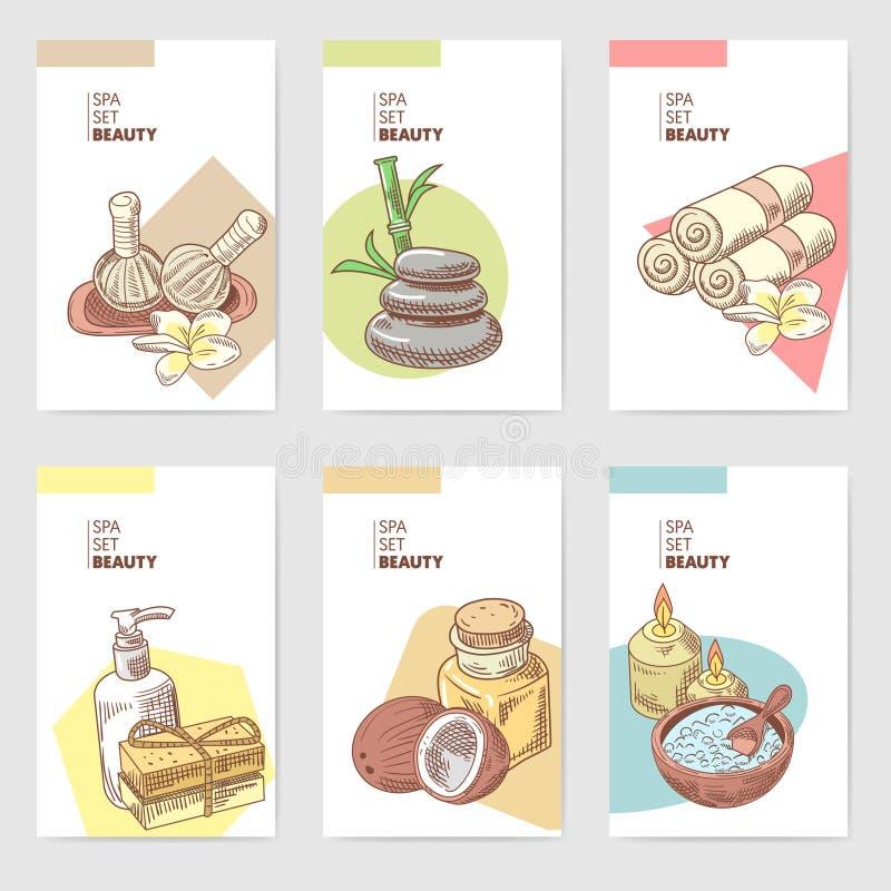 Badekurort Wellness-Schönheits-Broschüren-Schablone Aromatherapie-Gesundheits-Element-Karten Hautbehandlung stock abbildung