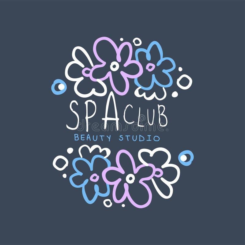 Badekurortclub, Schönheitsstudiologo, Ausweis mit Blumen für Wellness, Yogamitte, Gesundheit und Kosmetik Aufkleber, Hand gezeich stock abbildung