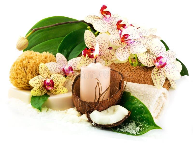 Badekurortkonzept mit Kerze, Kokosnuss, Orchidee, Tücher, Seife, grünes Le lizenzfreie stockfotografie