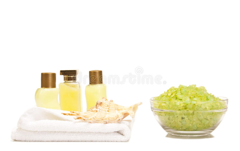 Badekurortlotionen und Badesalz lizenzfreies stockfoto
